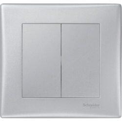 Intrerupator dublu Aluminiu, Schneider Sedna